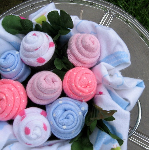 Chalkboard Baby Sock Rose Bouquet in Pink and by
