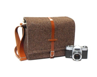 Camera + tablet messenger bag - brown tweed