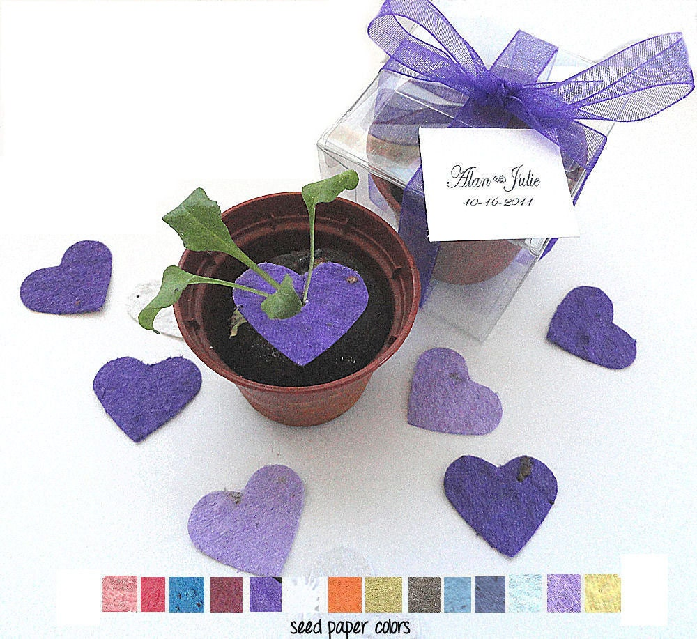 wedding favor flower seeds 100 flower seed wedding favors purple lavender hearts 9453