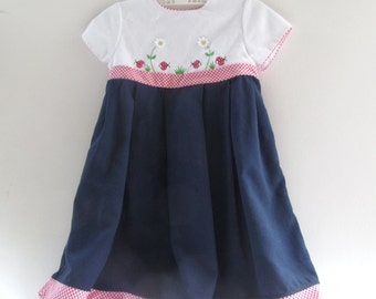 Delightful Girls Vintage Dress, b.t. kids, Empire Waist, Tie Back, Embroidered, Lady Bugs, Daisies, Gingham Trim, Piping, Size 3, Blend