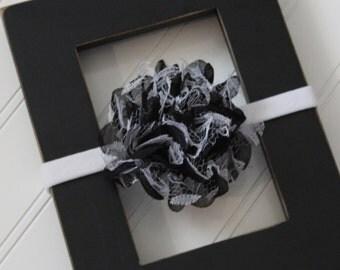 Black and White Chiffon Lace Headband- Newborn Baby Child- Photo Prop - Boutique Bow Headband