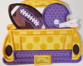 Team Football Truck - Iron On or Sew On Embroidered Applique