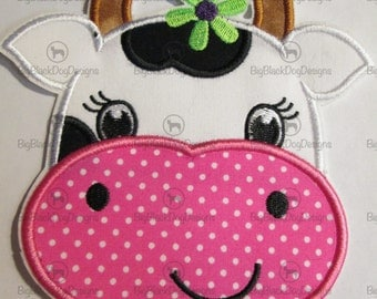 Girly Cow - Iron On or Sew On Embroidered Applique 08890