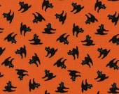 Black Cats Orange Halloween Fabric - Timeless Treasures - C2279