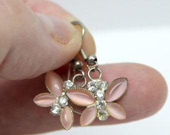 vintage pink and white rhinestone butterfly earrings, butterfly earrings, pink butterfly earrings, pink rhinestones,