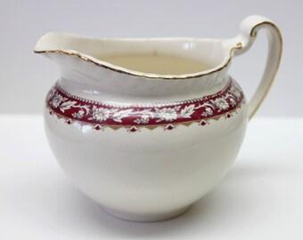 porcelaine Cream colored creamer with a Burgundy trim,Old English Johnson Bros,porcelain Creamer, creamer