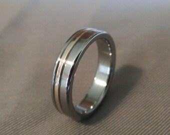 Titanium Ring with Bronze Inlay