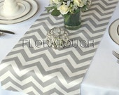Gray and White Chevron Wedding Table Runner