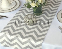 Gray and White Chevron Wedding Table Runner