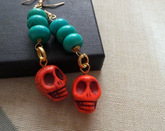 Day of the dead II -  turquoise and orange