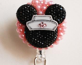 Nurse Minnie Mouse Black Silhouette ID Badge Reel - RN ID Badge Holder - Zipperedheart