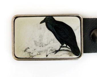 Raven Belt Buckle Black and White Vintage Illustration Bird Crow