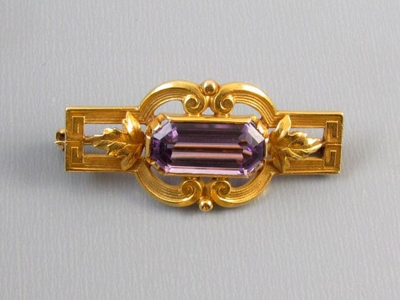 Antique Edwardian 14k bloomed gold 1.90 carat amethyst brooch pin signed Hayden W. Wheeler