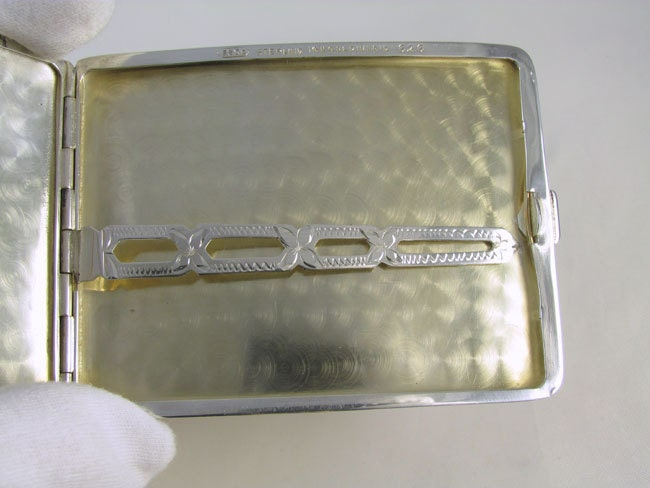 Cigarette case sterling silver 14k gold Art Deco signed ESCO Eagle 3.6 ounce curved M112C&E