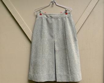Preppy vintage Sage Green Tweed Wool Skirt