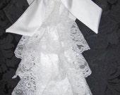 Mens Sparkling White Lace & Satin Extra Fancy Tie Cravat/Jabot