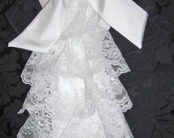 Mens Sparkling White Lace & Satin Extra Fancy Tie Cravat/Jabot
