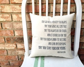 Bob Dylan, Forever Young- Customizable Double Sided Lyric Pillow
