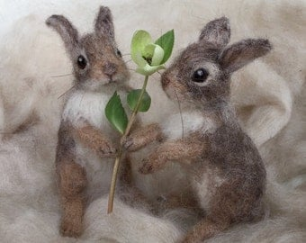 Needle Felted Cottontail Bunny Rabbit Baby Poseable