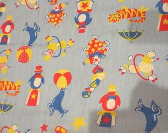 "Vintage Curtain Panel Childrens Fabric Circus Fabric Poodle Seals clowns Lions Penguins  52 x 45"""