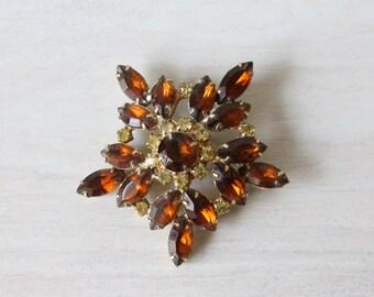 Rhinestone Brooch / Amber / 1960s Brooch Pin / Starlight