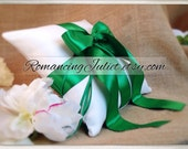 Romantic Satin Ring Bearer Pillow...You Choose the Colors...Buy One Get One Half Off...shown in ivory/kelly green