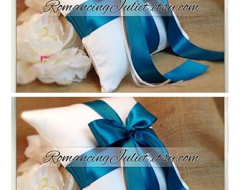 Romantic Satin Ring Bearer Pillow...You Choose the Colors...SET OF 2...shown in white/teal oasis