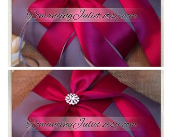 Romantic Satin Elite Ring Bearer Pillow with Rhinestone Accent...You Choose the Colors..SET OF 2..shown in charcoal gray/burgundy  red