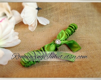 Simple Satin Dual Color Bridal Garter with Rhinestone Accent..You Choose The Colors..shown in leaf green