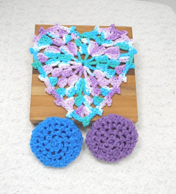Pot Scrubbers and Dishcloth kitchen set. Nylon net, cotton, heart, home cleaning aids, scratch free, scour pad, great colors. Pick your 3pc.