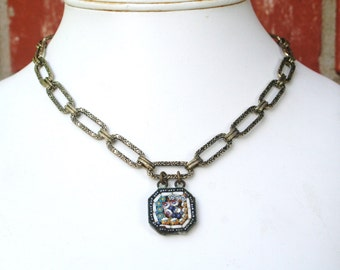 Vintage Micro Mosaic Charm Floral Chain Antiqued Brass Butterfly Toggle Clasp Necklace