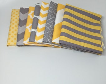 SALE - Basics Bundle - Fat Quarter Bundle in Gray and Yellow (8) - Riley Blake Designs - 2 Yards Total