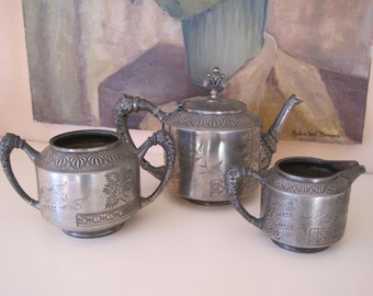 REDUCED Tea Service Set Victorian Aesthetic Movement Meriden B Co.