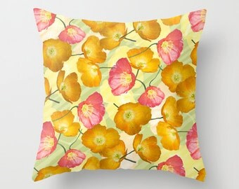 Poppy photo pillow, summer pillow, pink poppy cushion, floral patio pillow, yellow flower pillow, yellow poppies decor, pink yellow bedroom