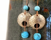 Bohemian Jewelry, Boho Earrings, Hammered Coins
