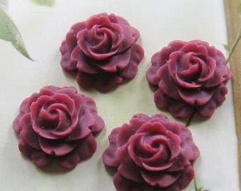 4 pcs -15mm rose cabochons (CA804-C25)