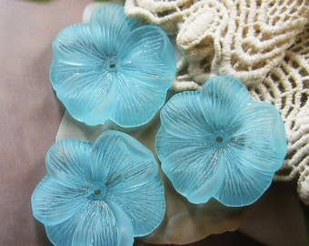 30mm - Large Frosted Ruffled Flower beads - 4 pcs (FL044)