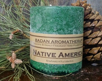 Eucalyptus Pine & Bayberry Pillar Candles - Dark Green Handmade Candle Collection - Winter Candles
