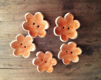 5 Stoneware Button Flowers in orange -  5 Gres Buttons
