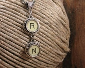 "Typewriter Key Jewelry - Nursing Theme - RN - Registered Nurse - Creamy Yellow ""RN"" Authentic Stacked Typewriter Key Necklace"