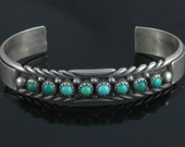 Vintage Multi Turquoise Stone Sterling Silver Cuff Bracelet Signed MJ