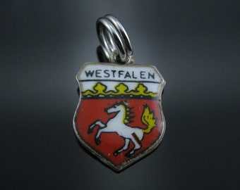 Vintage Antiko 800 Silver WestFalen Enamel Shield Charm