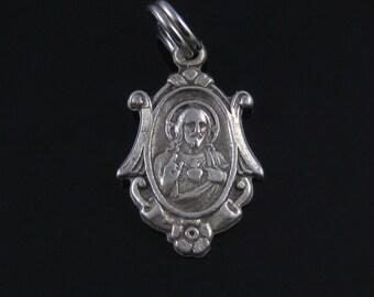 Vintage Catholic Portrait Sterling Silver Charm Pendant