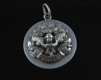 Pendant, Art Deco,  Sterling Silver, Vintage Zodiac, Virgo Pendent