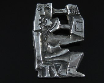 Brooch, A + H Mackie, Sterling Silver, Abstract, Modernist, Person On Phone, Collectible Pin