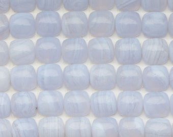 TWO Soft Lavender Blue Lace Agate 8mm Square Cushion Cabochons