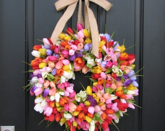 Spring Wreaths, Wreath, SPRING, Spring Tulip Wreath, Wreaths,Mother's Day Wreath, Easter Wreaths, XL Tulip Wreath, Outdoor Wreaths