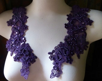Purple Plum Beaded Lace Applique PAIR  for LYRICAL Dance, Bridal, Headbands, Costume Design PR 612pp