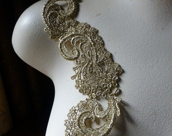 Lace Applique in Gold for Bridal, Jewelry Supply, Altered Couture, Costume Design CA 102S