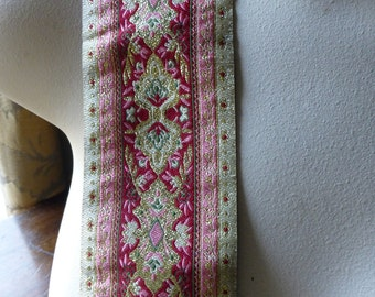SALE Jacquard Ribbon Trim in Red, Pink & Gold for Reenactment, Period Costumes, Tribal Fusion, Bellydance TR 208